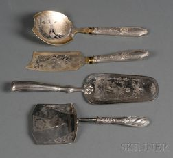 Three Continental Silver-handled Flatware Servers